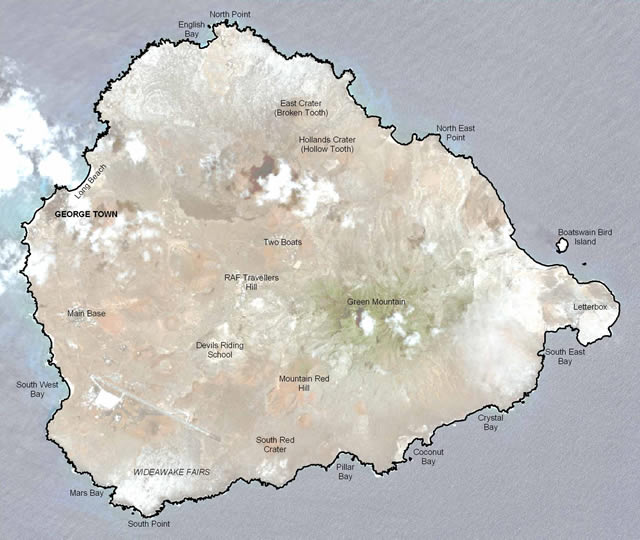 Ascension Island Overview Map (Imagery © 2009 DigitalGlobe)